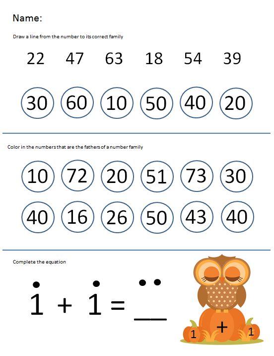 Free Printable Worksheet Kindergarten Number Families – Smart And Savvy Mom